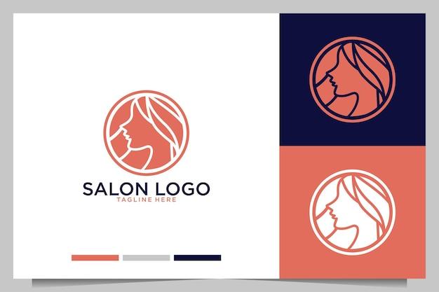 Salon with beauty women logo design