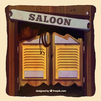 Saloon background in watercolor style