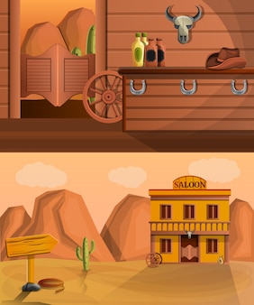 Saloon banner set, cartoon style