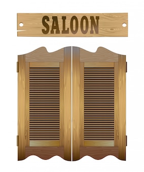 Saloon doors and signboard above.