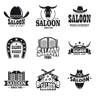 Saloon logo set