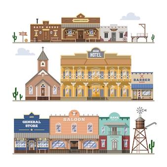 サルーンの野生の西の建物と西部のカウボーイの家または通りの図のバーは、白い背景の上の建築ホテルの店と国の風景のセット