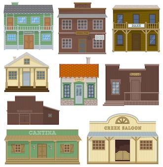 サルーンの野生の西の住宅の建物と西部のカウボーイの家または通りの図のバーは、白い背景で隔離の町の建築ホテルの店と国の風景のセット