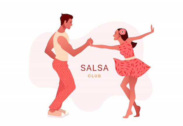 Salsa in the city. street dancing. beautiful couple dancing. people in love.