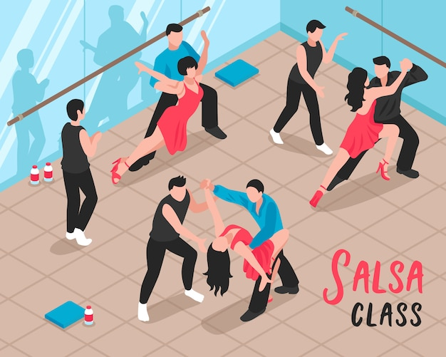 Salsa class people isometric illustration
