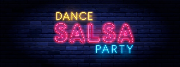 Salsa dance party colorful neon light