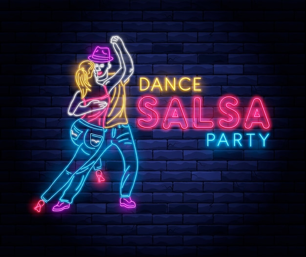 Salsa dance party neon light with dancing couple