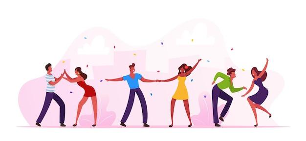 Персонажи мужского и женского пола танцоры сальсы в красочных костюмах веселятся на вечеринке или карнавале в бразильском танцевальном клубе. латиноамериканские мужчины и женщины носят праздничное платье, бразилия танцует мультфильм векторные иллюстрации