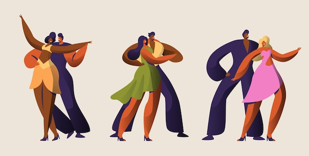 Salsa party dancer couple character set.