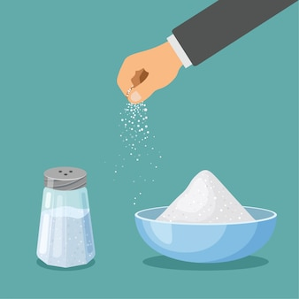 금속 뚜껑을 가진 통과 그릇에 소금. 손은 소금을 뿌린다. 제빵 및 요리 재료. 만화 벡터 음식 조미료. 트렌디 한 평면 디자인의 주방 용품