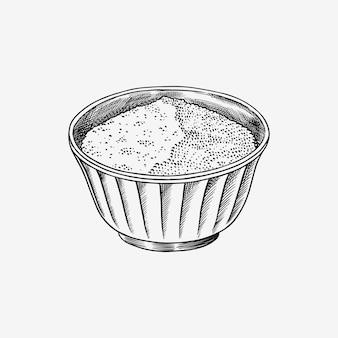 ボウルに塩または砂糖。ヴィンテージスタイルのスパイスやシリアル。調理材料。手描きの刻印