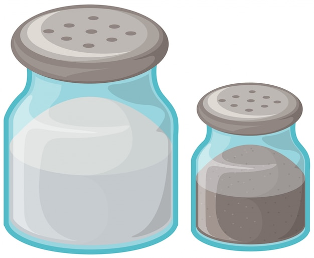 Salt and pepper in bottles