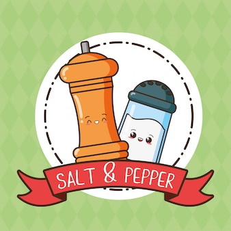 Salt and pepper kawaii, illustration