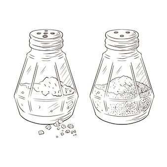 Salt and pepper shakers engraved illustration. hand drawn glass jars cooking spices sketch in vintage style for logo, recipe, menu, food prints, labels, stickers, banner design. premium vector