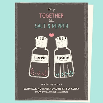 Salt and pepper, wedding invitation
