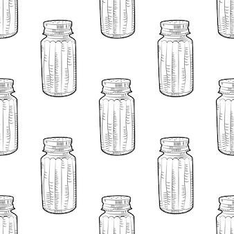 Salt shaker seamless pattern on white background.
