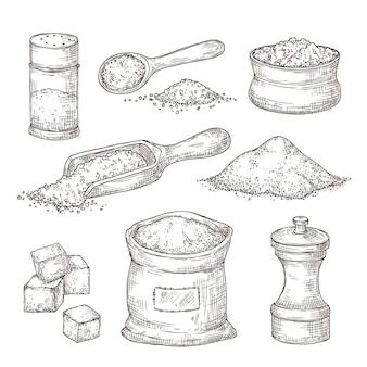 소금 스케치. 손으로 그리는 향신료, 바다 소금 가루가 있는 빈티지 그릇 숟가락. 요리할 음식 재료, 고립된 후추 통 벡터 삽화. 짠 후추 스케치, 셰이커 용기