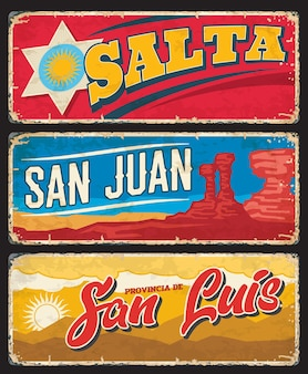 Salta, san juan and san luis provinces argentine regions vector plates with coat of arms, ischigualasto park mountains and sun. argentina province, south america country region shabby plate