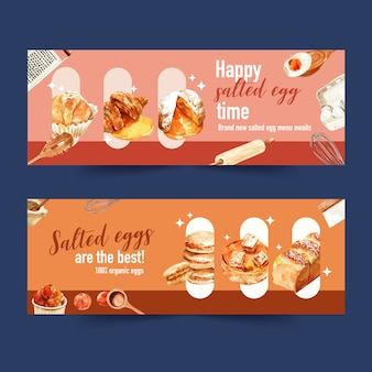 Salted egg banner design with bread, choux cream, boiled egg watercolor illustration.
