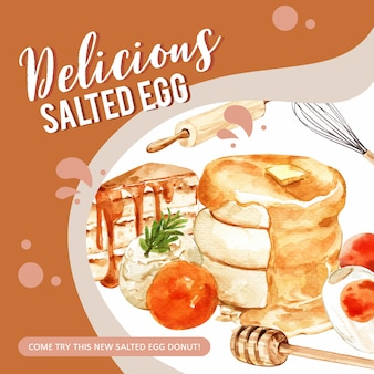 Salted egg banner design with cake, pancake, rolling pin watercolor illustration.