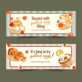 Salted egg banner design with honey toast, moon cake, pancake  watercolor illustration.