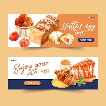Salted egg banner design with pie, crepe cake, croissant watercolor illustration.