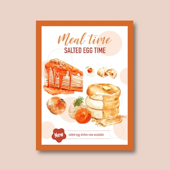 Salted egg flyer design with chinese pastry, pie, cream watercolor illustration.