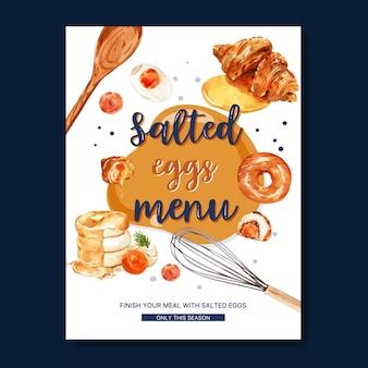 ドーナツ、クロワッサン、パンケーキの水彩イラストと塩卵メニューデザイン。
