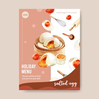 Salted egg menu design with steamed stuff bun, rolling pin watercolor illustration.