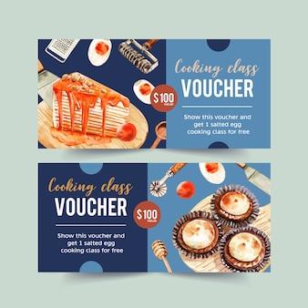 Salted egg voucher design with crepe cake, bun watercolor illustration.