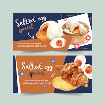Salted egg voucher design with croissant, stemmed bun watercolor illustration.