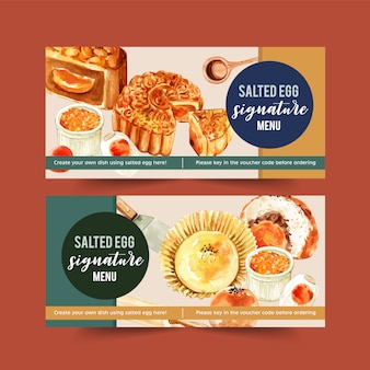 Salted egg voucher design with moon cake, bun watercolor illustration.