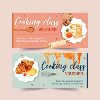Salted egg voucher design with pancake, croissant watercolor illustration.