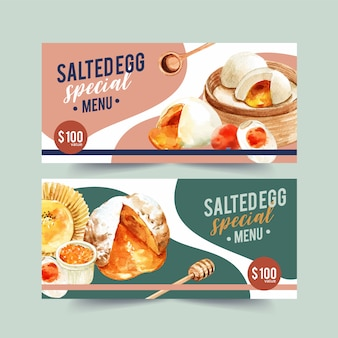 Salted egg voucher design with stuffed bun, spoon, cupcake watercolor illustration.