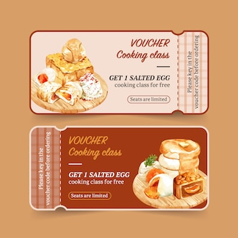 Salted egg voucher design with stuffed bun, toast watercolor illustration.