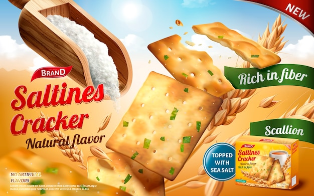Saltines cracker ads, tasty saltines in salty and scallion flavour with a scoop of salt isolated on outdoor background