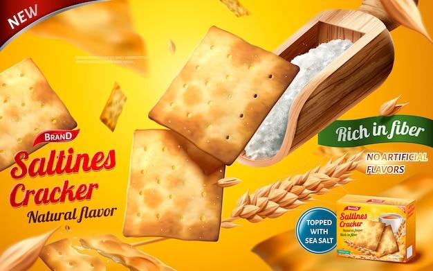 Реклама соленых крекеров, вкусные соленые с шариком морской соли, изолированные на желтом фоне
