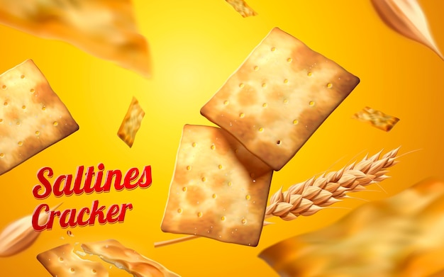 Saltines cracker element, crackers and wheat falling down from sky isolated on yellow background