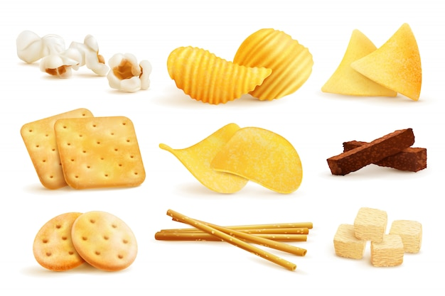Salty snack pieces set
