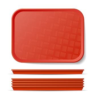 Красный пластиковый лоток salver иллюстрация