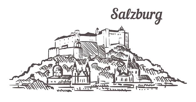 Salzburg fortress sketch landscape