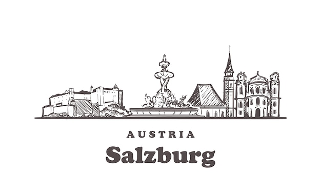 Зальцбург рисованной, австрия