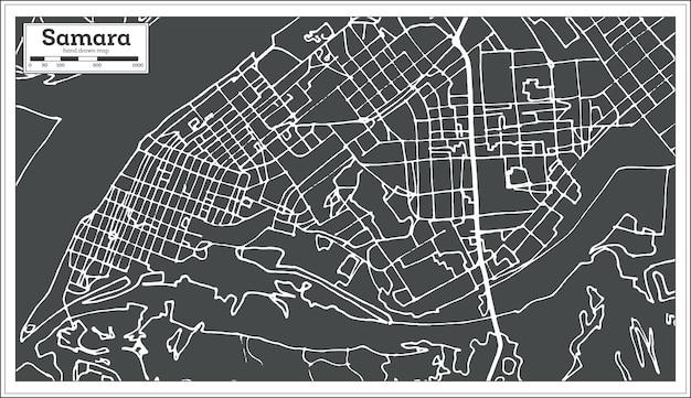 복고 스타일의 사마라 러시아 도시 지도입니다. 개요 지도. 벡터 일러스트 레이 션.