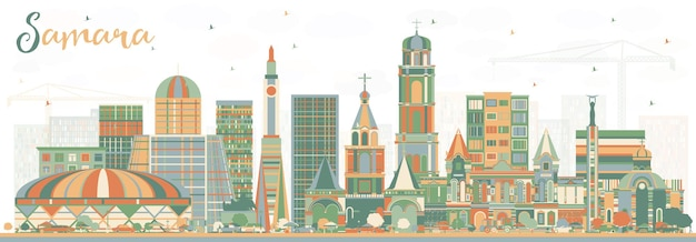 Samara russia city skyline with color buildings. vector illustration. business travel and tourism concept with modern architecture. samara cityscape with landmarks.