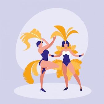 Samba dancer isolated icon
