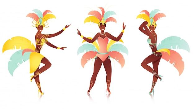 Samba female dancer character on white