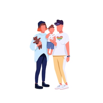 Same sex family flat color faceless characters. generation z couple, lgbtq rights. young lesbian women with child isolated cartoon illustration for web graphic design and animation