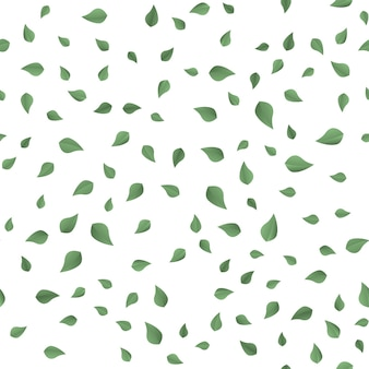 Samless pattern with falling green leaves on white. vector