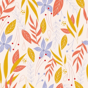 Samless pattern with leaves and flowers.botanical pattern