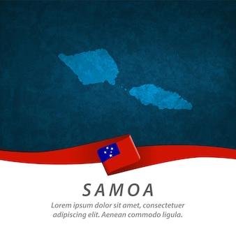 Флаг самоа с центральной картой